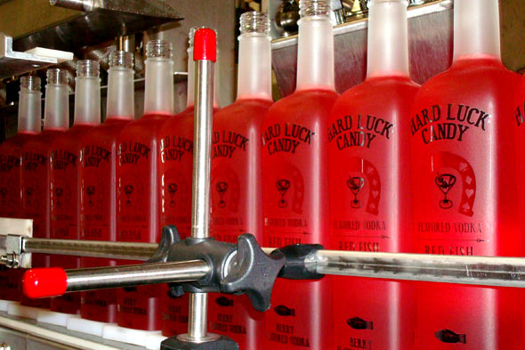 bottles of Hard Luck Candy Red Fish vodka