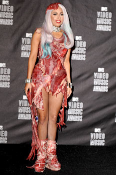 Lady Gaga's meat dress at the 2010 VMA Awards