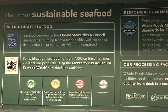 Sustainable seafood signage at Whole Foods Market