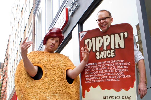 Chef Jamie Oliver and Chipotle founder Steve Ells in costumes