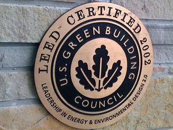 LEED certificate on building