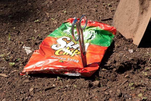 Sun Chips bag on the ground
