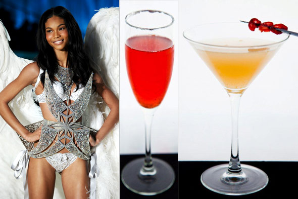 Victoria's Secret model Chanel Iman with Stoli cocktails