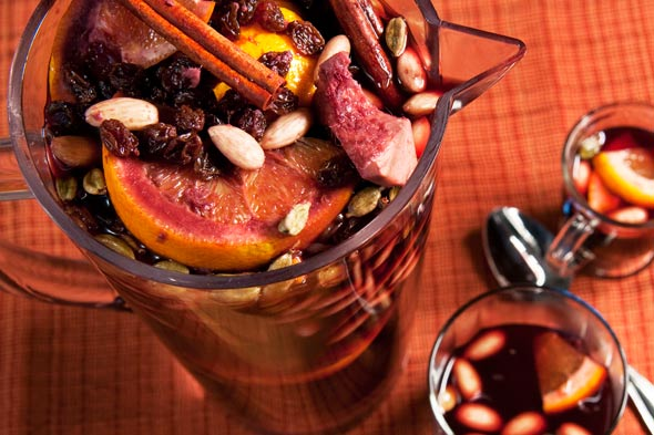 Christmas warm spiced mulled wine recipe