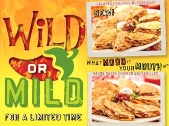 Chili's restaurant wild or mild menu