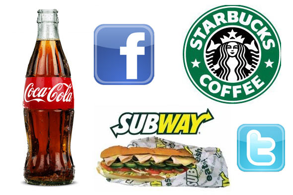 Coca-Cole Starbucks and Subway on facebook and twitter
