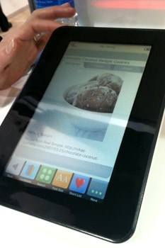 The Demy e-reader on display at 2011 Consumer Electronics Show