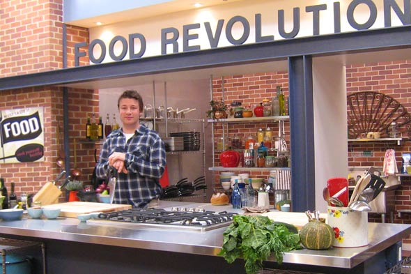 Jamie Oliver on the set of Food Revolution LA