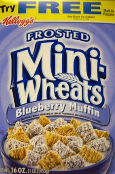 Frosted Mini-Wheats Blueberry Muffin cereal box