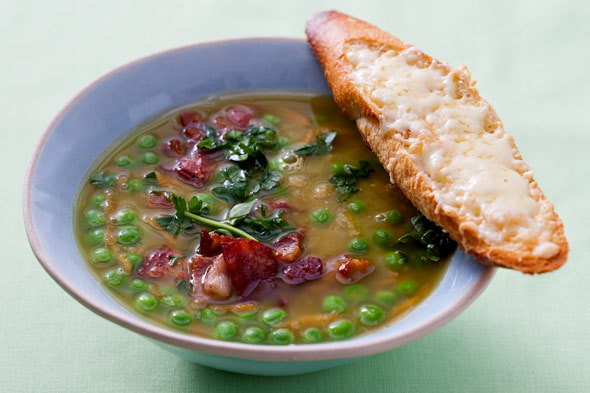 Split Pea Soup and Cheddar Toast recipe