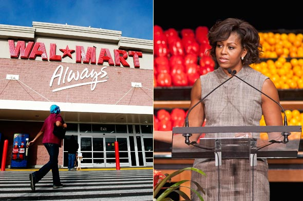 Michelle Obama at a Wal-Mart press conference