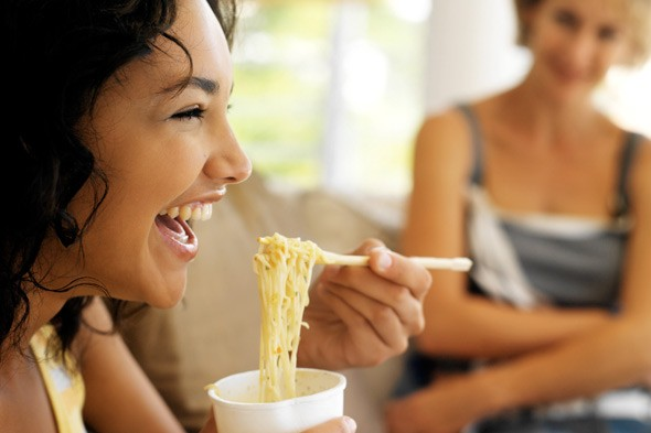 woman eating noodles diet foods