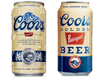 Coors Banquet golden retro cans