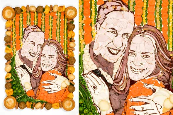 food portrait of engaged royal couple Prince William and Kate Middleton