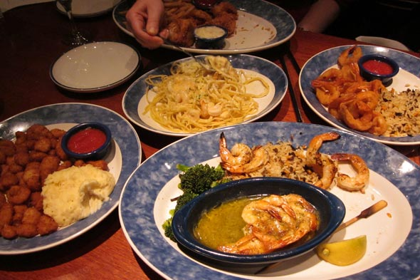 Red Lobster menu, shrimp dishes