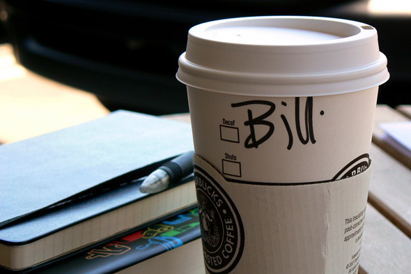 Starbucks name on cup