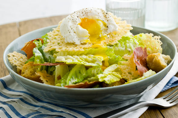 Caesar salad with Parmesan and poached egg