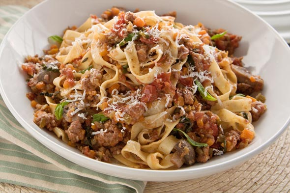 Mushroom Bolognese With Fettuccini Recipe — Dishmaps