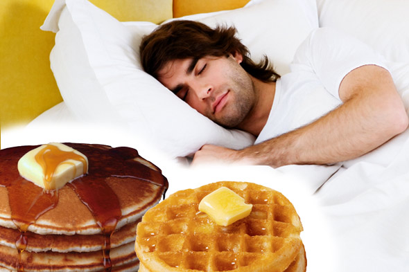 man dreaming about buttery waffles and pancakes
