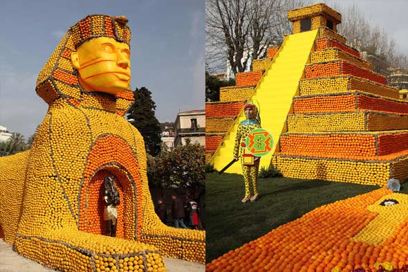 Giant sculptures made of lemons and oranges