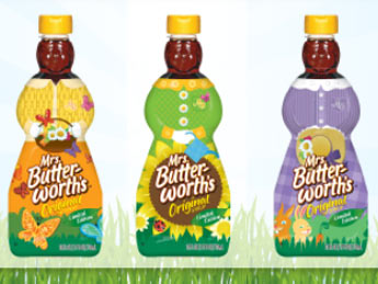 Mrs. Butterworth's syrup bottles