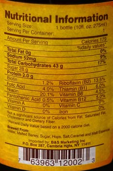 Nutrition label on a beer bottle