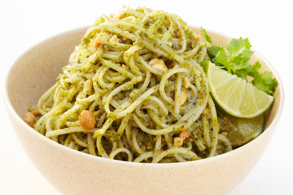 Rice Noodles with Asian Pesto