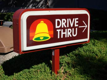 Taco Bell drive-thru take out fast food dinners