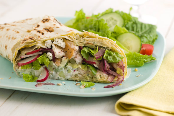 Mediterranean Roasted Chicken Wrap