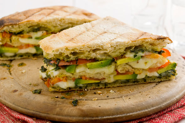 Triple-Decker Tomato and Avocado Panini with Mozzarella and Pesto recipe