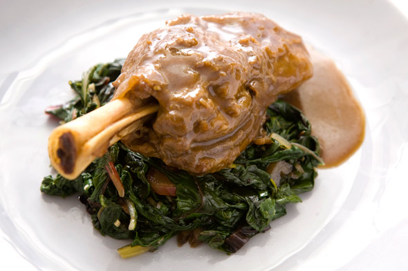 Slow-Roasted Lamb Shanks with Horseradish Jus recipe