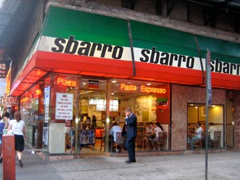 Sbarro pizza restaurant