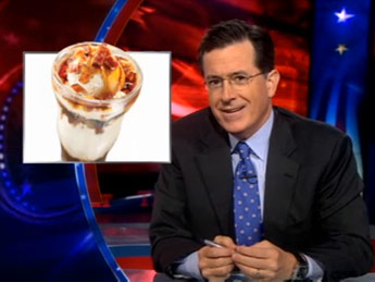 Stephen Colbert talks about Denny's bacon sundae