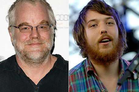 Philip Seymour Hoffman and Robin Pecknold of Fleet Foxes
