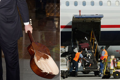 Broken musical instruments and airplane luggage