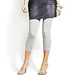leggings worn with denim skirt