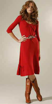ella moss red scoop neck sabrina dress