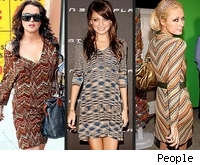 missoni dresses on lindsay lohan, paris hilton, nicole richie