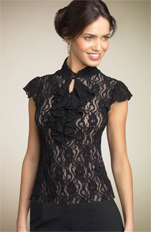 shelli segal ruffle lace top