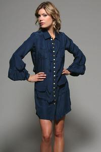gold hawk bijou blue button front shirt dress