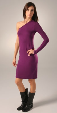 rachel pally one sleeve dress in amethyst