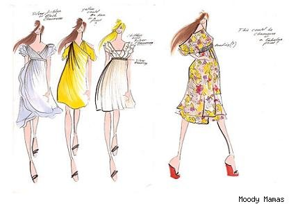 sketches of dresses. The initial sketches show