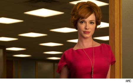 right now is the elaborate updo sported by Joan Holloway in Mad Men.