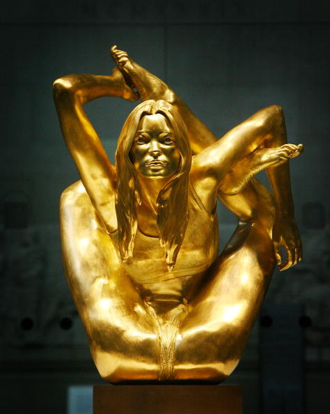 kate moss gold statue