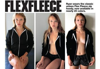 American Apparel's Flex Fleece hoody advertisement.