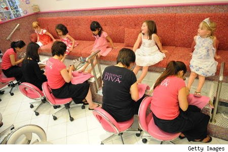 Above you see a five-year-old's birthday party -- manipedis at