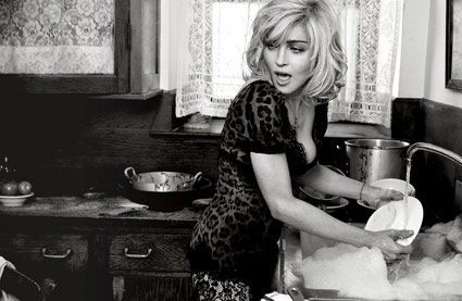 Madonna Dolce & Gabbana ad Sprin/Summer 2010 washing dishes