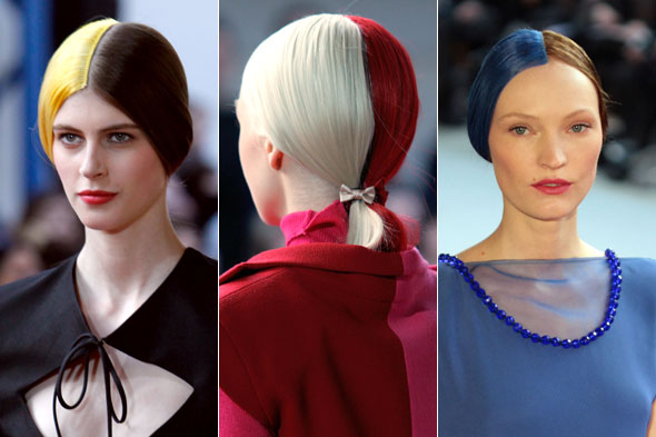 Models at Alexis Mabille wore two-tone, color block hair on the runway.