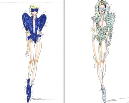 Giorgio Armani sketches for Lady Gaga tour costumes