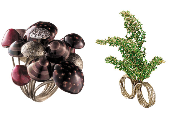H.Stern Alice in Wonderland inspired jewelry mushroom forest topiary garden rings